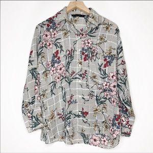 Zara Plaid & Floral Button Down